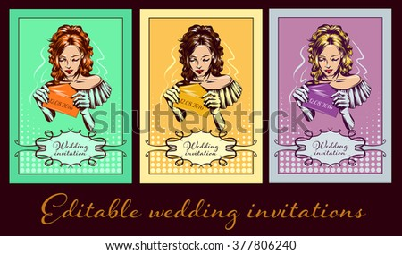 Bride in white wedding dress pop art retro style. Beautiful woman. Tradition and celebration. Love, marriage and romance. Set of invitations in different colors
