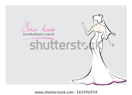 bride invitation card Post card where bride saying something. Line art.  Easy to edit separate layers. EPS 8.0 - stock vector