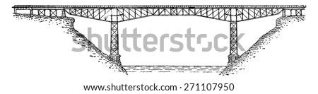 Bridge (cantilever) on the Niagara, vintage engraved illustration. Industrial encyclopedia E.-O. Lami - 1875. - stock vector