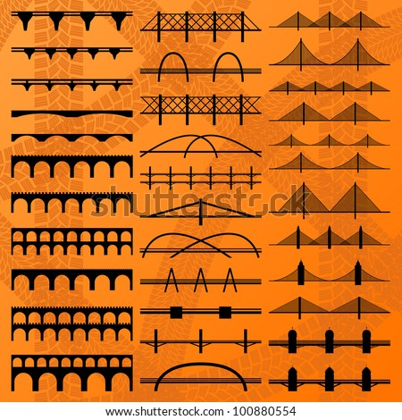 Bridge construction silhouettes illustration collection background vector - stock vector