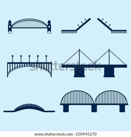 Bridge Icons - stock vector