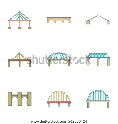 Bridge icons set. Cartoon illustration of 9 bridge vector icons for web