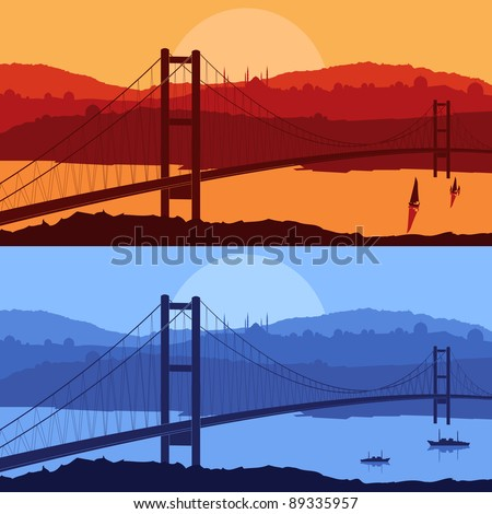 Bridge in day and night Arabic city landscape background illustration - stock vector