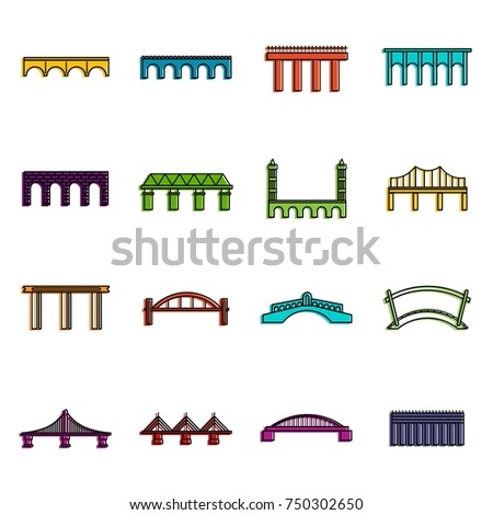 Bridge set icons set. Doodle illustration of vector icons isolated on white background for any web design