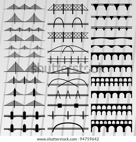 Bridge silhouettes illustration collection background vector - stock vector