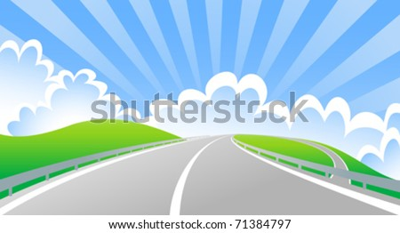 bridge the intersection with the sun behind clouds (vector)