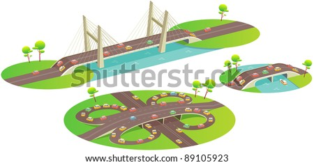 Bridges. Fun cartoon map elements: trees, bridge, overpass, car. Cars can be used as keyframes for the motion animation. (set 4) - stock vector