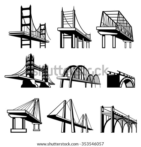 Bridges in perspective vector icons set. Architecture construction, urban road structure engineering object illustration