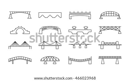 Bridges vector thin line icons set