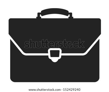 briefcase black and white icon - stock vector