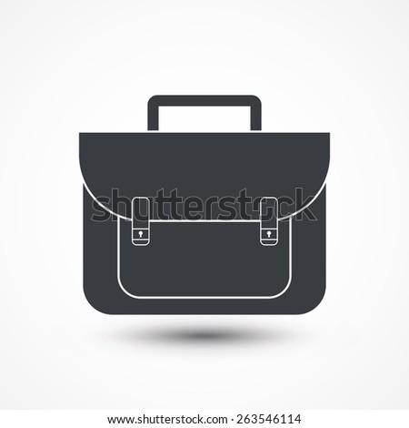 Briefcase black and white icon. - stock vector