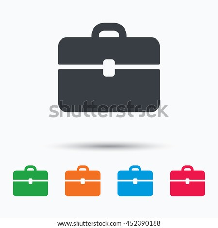 Briefcase icon. Diplomat handbag symbol. Business case sign. Colored flat web icon on white background. Vector - stock vector