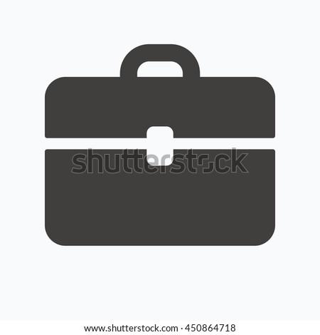 Briefcase icon. Diplomat handbag symbol. Business case sign. Gray flat web icon on white background. Vector - stock vector