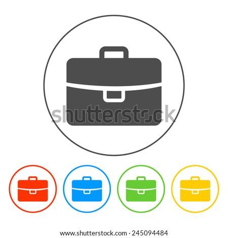 Briefcase icon, Flat vector illustration. EPS 10 - stock vector