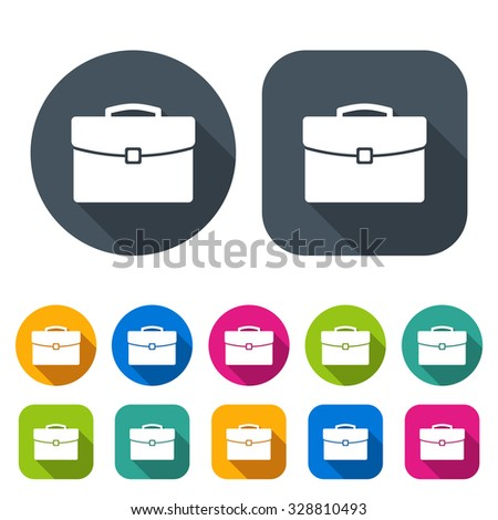 briefcase icons set in the style flat design different color on the white background. stock vector illustration eps10