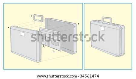 briefcase parts - stock vector
