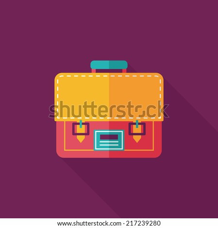 briefcase ,school bag flat icon with long shadow,eps10 - stock vector