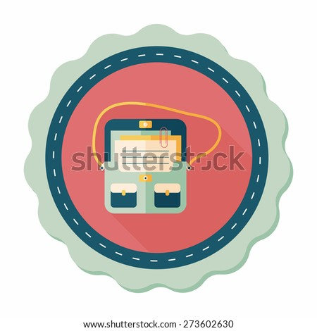 briefcase school bag flat icon with long shadow,eps10 - stock vector