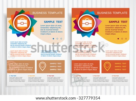 Briefcase symbol on abstract vector brochure template. Flyer layout. Flat style.