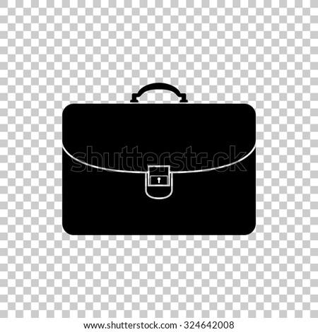 briefcase vector icon - black illustration - stock vector