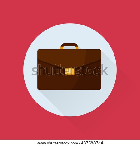 Briefcase vector illustration. Briefcase business. Briefcase in flat style. Briefcase icon. Briefcase isolated on colored background. - stock vector