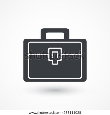 Briefcase white icon - stock vector