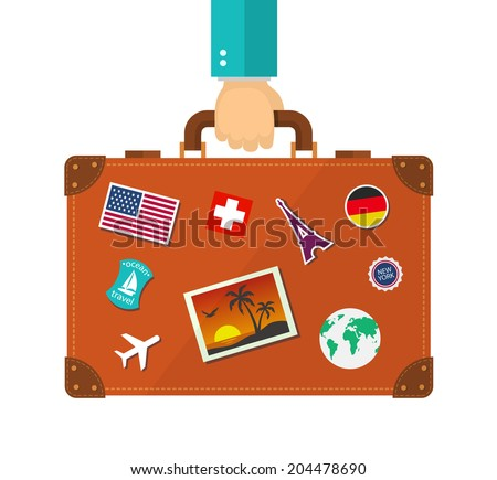 Briefcase with stickers in hand. Traveller flat illustration. eps10 - stock vector