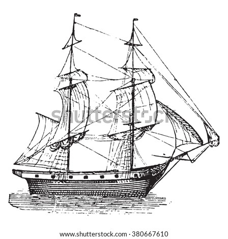 Brig, vintage engraved illustration. Dictionary of words and things - Larive and Fleury - 1895. - stock vector