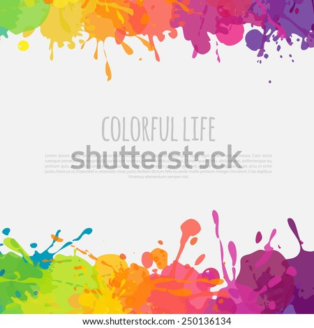 bright abstract banner with color splashes - stock vector