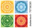 bright abstract circle backgrounds, mandalas of different chakras, vector - stock vector