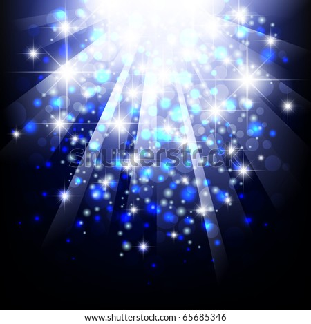 bright abstract explosion with stars over blue - stock vector