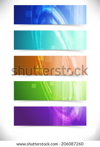 Bright abstract mechanical tech cards collection. Vector illustration - stock vector