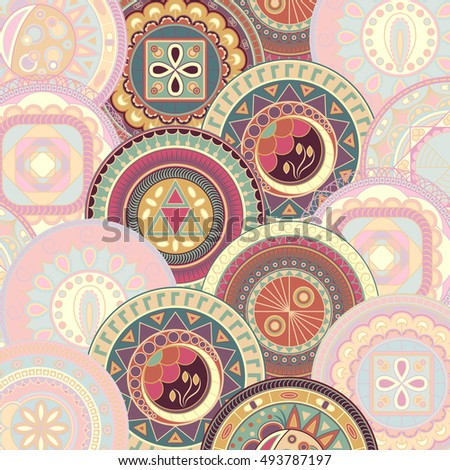Bright abstract pattern with circles. Original design