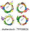 Bright abstract round floral frames - stock vector