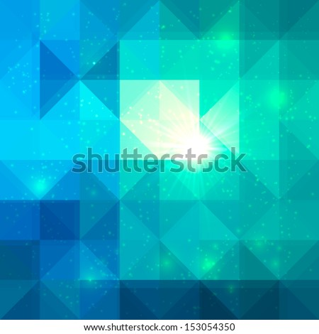 Bright abstract triangles grid blue vector background - stock vector