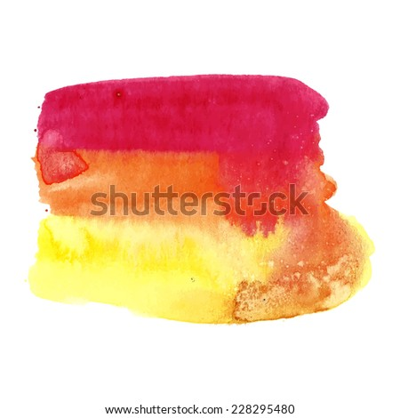 Bright abstract watercolor art hand drawn isolated on white background. Orange pink yellow watercolor spot. Vector illustration. - stock vector