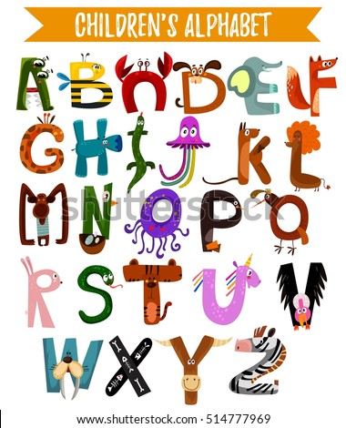 Bright alphabet children cute animals can stock vector 514777969 bright alphabet for children with cute animals it can be used as poster altavistaventures Image collections