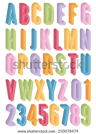 bright alphabet icons with letters and numbers, isolated on white - stock vector