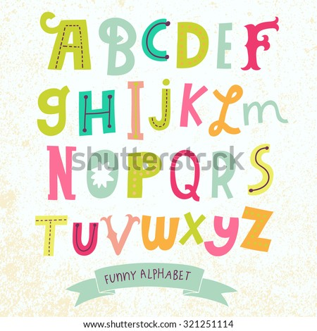Bright alphabet set in vector. Stylish letters in different popular colors. Cartoon abs icons