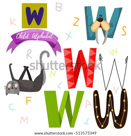Bright Alphabet Set In VectorW Letter Stylish 6 Hand Drawn Letters Different