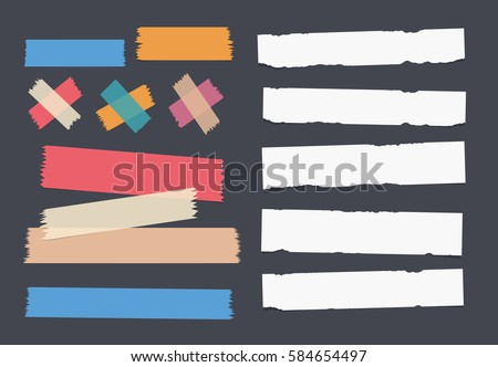 Bright and colorful sticky, adhesive masking tape and white notebook, copybook, note paper strips stuck on dark background