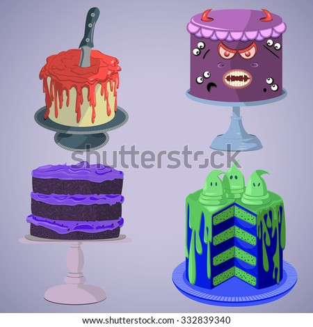 Bright and creative Halloween spooky tasty cakes set for Holiday design, poster, greeting card. All objects organized in groups for easy editing. - stock vector