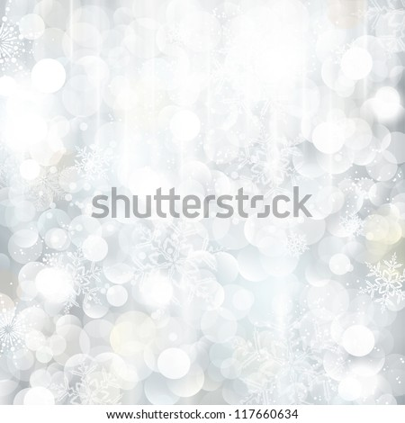 Bright and festive silver background with snow flakes, stars and bokeh lights. Beautiful template for Christmas and winter cards. - stock vector