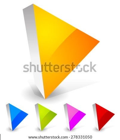 Bright and glossy play button icons in 3d. Orange, blue, green, purple and red colors. - stock vector