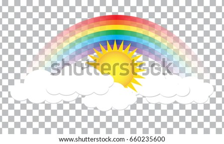 Bright Arched Rainbow With Clouds And Sun Realistic Vector Illustration On Transparent Background