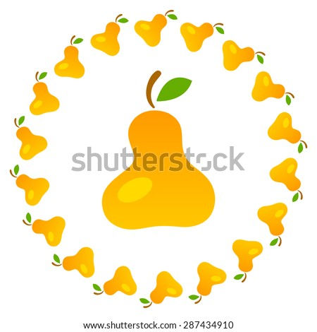 Bright art illustration of yellow mellow pears. Fully editable vector illustration. Perfect for textile, background, wallpaper use.   - stock vector