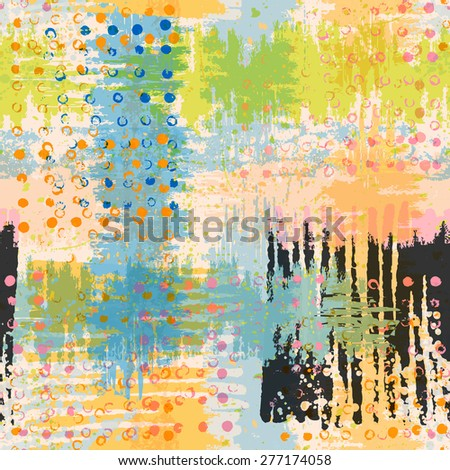 Bright artistic seamless pattern. Handmade texture. Vivid acid green, yellow, blue, pink and black  colors. Vector illustration. - stock vector