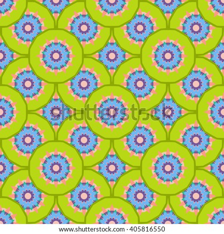 Bright artistic seamless pattern with abstract flowers. Fantasy multicolored background.Vector illustration. Bright  colorful design. Green, blue, and pink colors. - stock vector
