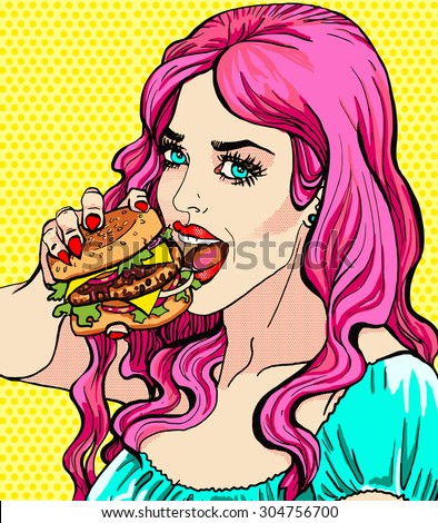Bright attractive sexy cover hot pink hair girl with burgers, pop art retro hipster fashion retro poster, cafe and fast food advertising, smile, bright hair, art, t-shirt print