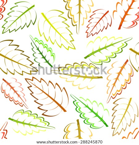 bright autumn pattern with green, yellow, brown and red leaves - stock vector
